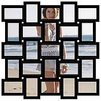 Деревянная мультирамка на 25 фото Классика 25, черная