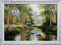 «Лебеди на пруду» картина маслом