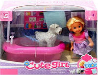 Кукла в ванной комнате с собачкой К899-16