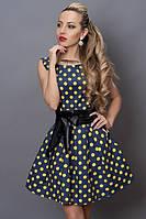 Ультра модное платье в желтый горох