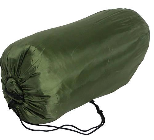 Спальный мешок с капюшоном зеленый, сезон весна-осень.
