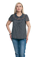 Женская блузка большого размера Черная с белым горошком