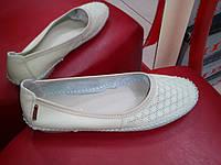 Мокасины женские allshoes  кожа 638-8 светло бежевые.