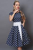 Платье в крупный белый горох на синем фоне