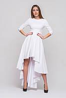 Нарядное платье с асимметричной юбкой белое