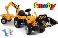 Трактор на педалях с прицепом и двумя ковшами Builder Max Smoby 33389