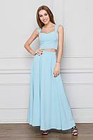 Костюм хлопковый топ+длинная юбка голубого цвета