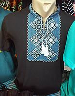 Мужская вишиванка чёрная с орнаментом короткий рукав