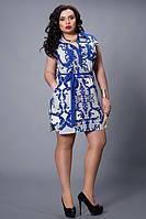 Сине-белое платье в абстрактный принт