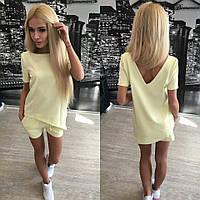 Женский стильный летний костюм: шорты и асимметричная футболка (4 цвета) + (Большие размеры)