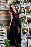Вечернее черно-красное платье с гофрированной юбкой
