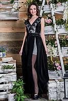 Вечернее черно-белое платье с гофрированной юбкой