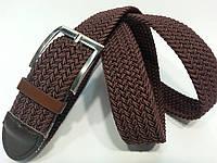 Ремень-резинка плетеный коричневый