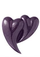 Декор керамический настенный/настольный глянцевый фиолетовый Два сердца.