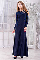 Вечернее темно-синее  платье с трикотажа и гипюра
