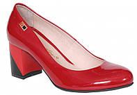 Туфли женские лаковые красные кожаные ТМ Лидер