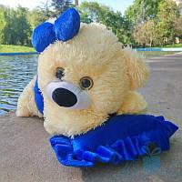 Мягкая игрушка Плюшевый мишка Малышка 50 см (персиковый+синий)