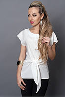 Стильная летняя белая блуза из льна