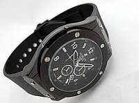 Мужские часы HUBLOT - GENEVE каучуковый черный ремешок, черный циферблат