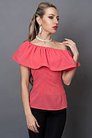 Молодежная коралловая блуза ч пуговицами на спине