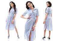 Платье-туника в мелкую полоску