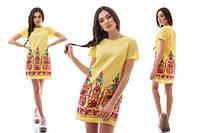 Прямое летнее платье с вышивкой снизу