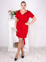 Красное платье больших размеров (рр 50-60) с поясом