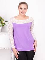 Нежная блуза-туника больших размеров (рр 50-62) с гипюром