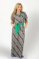 Оригинальное длинное женское платье рубашка под пояс в диагональную полоску рукав короткий штапель батал