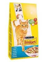 Сухой корм для кошек Фрискас (FRISKIES) с лососем и овощами, 1,5 кг