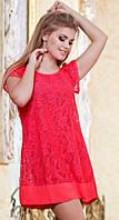 Комбинированное летнее женское платье свободного фасона с коротким рукавом масло гипюр