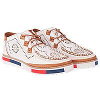 Оригинальные туфли женские на шнурках от Phany (стильные, кожаные, с перфорацией)
