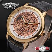 Женские механические часы Winner Gold Skeleton