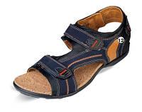 Мужские спортивные сандалии, кожа MIDA нуб. синие.