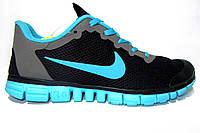 Мужские беговые кроссовки NIKE Free Run  3.0, сетка, черные с серым, Р. 40 41 43 44