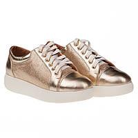 Удобные женские туфли Kento (кожаные, золотистые. на шнуровках, весна-лето, на платформе)