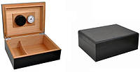 Хьюмидор 09480 для 12 сигар, кедр/шпон, черный, 26х18х6см