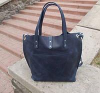 Синяя женская кожаная сумка Toton на плечо ремень на кнопке шоппер