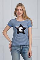 Модная короткая футболка свободного кроя в полоску