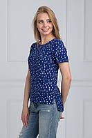 Модная синяя блуза с белыми пальмами  с удлиненной спинкой