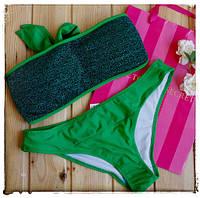 Раздельный зеленый купальник