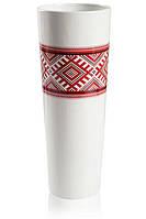 Ваза для цветов керамическая глянцевая белая с Украинским орнаментом.