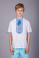 Вышиванка для мальчика с синим узором, на короткий рукав