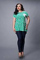 Блуза женская батальная модель 503-2(А,Н,Г) размер 50,52,54,56,58 бирюза