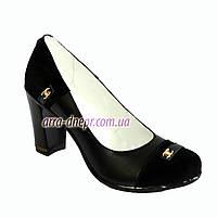 Женские туфли черные на высоком устойчивом каблуке, натуральная замша и кожа