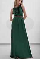 Платье в Пол Воздушное Летящее Без Рукава с Рюшами Темно-Зеленое р. 42, 44, 46