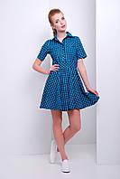 Короткое легкое ситцевое платье в клетку с юбкой клеш р.S,M,L