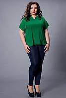 Однотонная зеленая шифоновая блузка большой размер