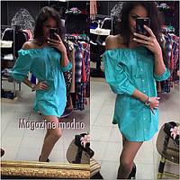 Платье - рубашка льняное на пуговицах в разных цветах SMM211