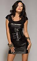 Блестящее черное мини платье